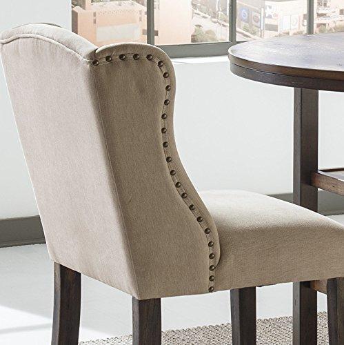 Moriany Light Beige Upholstered Nailhead Tall Barstools, Set of 2