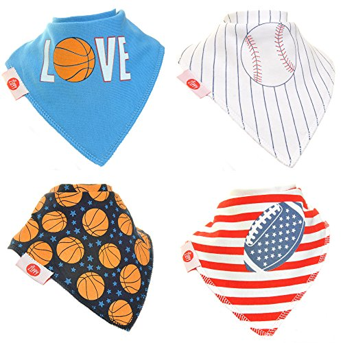 Zippy Fun Baby and Toddler Bandana Bib-Absorbent 100%cotton Front Drool Bibs with Adjustable Snaps(4 Pack Gift Set)Boys Sport Dude