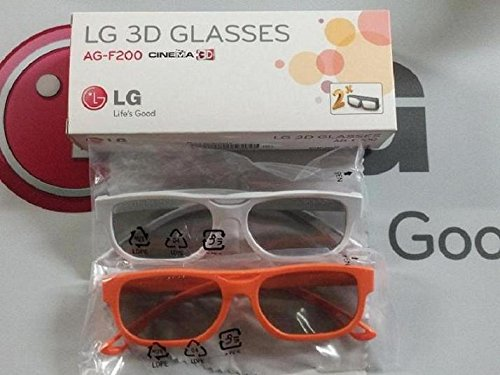 2 Boxes (4 Pairs) of LG Cinema 3D Glasses AG-F200 - Orange and White & FREE Cleaning Cloth literature and cinema