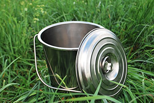 Stainless Steel Milk Bucket with Lid 3.5 Qt Dairy Pail (Stainless Steel Pail With Lid compare prices)