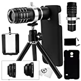 Samsung Galaxy S5 Camera Lens Kit including a 12x Telephoto Lens / Fisheye Lens / 2 in 1 Macro Lens and Wide Angle Lens / Mini Tripod / Universal Phone Holder / Telephoto Lens Holder Ring / Hard Case for S5 / Velvet Phone Bag / CamKix® Microfiber Cleaning Cloth - Awesome Accessories and Attachments for Your Galaxy S5 Camera (Black)