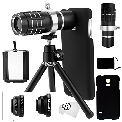 Samsung Galaxy S5 Camera Lens Kit Including A 12X Telephoto Lens / Fisheye Lens / 2 In 1 Macro Lens And Wide Angle Lens / Mini Tripod / Universal Phone Holder / Telephoto Lens Holder Ring / Hard Case For S5 / Velvet Phone Bag / Camkix® Microfiber Cleaning