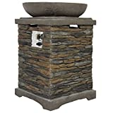 Best Choice Products Elegant Outdoor Patio Firepit Stone Base Fire Bowl Poolside Backyard Propane