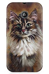 GeekCases Canves House Cat Back Case for Motorola Moto E (2nd Gen)