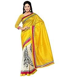 Needle Impression Yellow Bhagalpuri Silk Saree (WS72_YELLOW)
