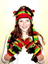 Rasta Hat with Scarf and Mittens Attached