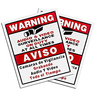Best Vision Security Surveillance Warning Sign 2-Pack - Metal - Outdoor
