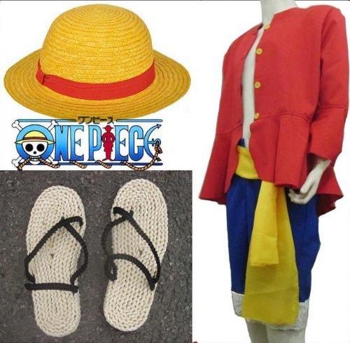 ワンピース ONE PIECE ルフィのコスプレ衣装 服 麦わら帽子 2年後 Lサイズ