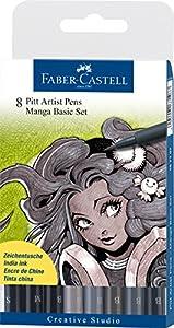 Faber-Castell Manga Feutre PITT Noir/gris Pochette de 8 (Import Royaume Uni)