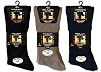 6 PAIRS Mens Big Foot Loose Top NON ELASTIC 100% Cotton Socks - Size 11-14 - No Elastic