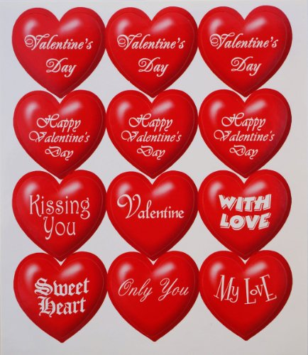Jazzstick 120 Red Valentine Big Heart Decorative Sticker 10 sheets (VST02A01)