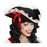 Tricorn Felt withLace Trim And Red Bow Pirate Hats Caps & Headwear for Fancy Dress Costumes Accessory