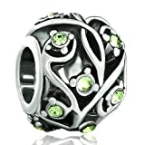 Mothers Day Gifts Pugster Peridot Green Crystal Black Leaf Pattern European Beads Fits Pandora Charm Bracelet