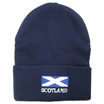 Mens Scotland Flag Embroidered Winter Beanie Hat (One Size) (Navy)