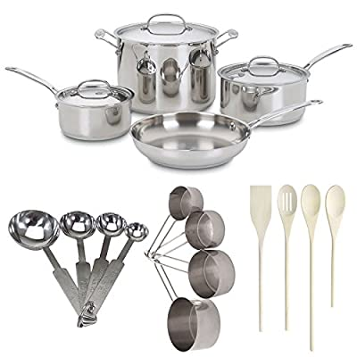 Cuisinart 777 7-Piece Chefs Classic Stainless Cookware Set Bundle with 4-pc Wooden Utensil Set, Measuring Spoons and Cups