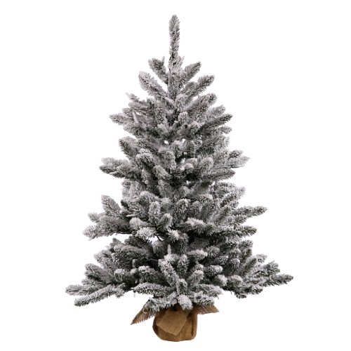 Vickerman Anoka Pine Flocked White on Green Tabletop Tree with 150 Clear Mini Lights, 42-Inch