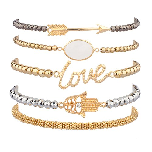 Lux Accessories LOVE HAMSA ARROW Beaded Arm Candy Friendship Rhinestone Stretch Bracelet Set