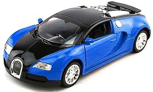 NuoYa001 Top Gift 1:36 Bugatti Veyron Diecast Car Model Collection with Sound&Light Blue (Include a Cycling Reflective Band as gift) - 1