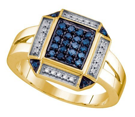 Sterling silver 0.25 Carat (ctw) Diamond Cluster Ladies Blue Diamond Ring