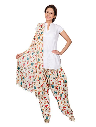 Womens Cottage SeaGreen Floral Printed Cotton Semi Patiala & Cotton Dupatta with Beads