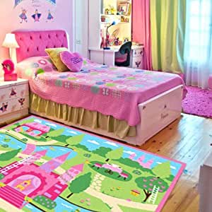 LELVA Cartoon Castle Girls Bedroom Rugs Delicate Little Flowers