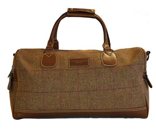 Brown-tweed-with-dark-red-check-weekend-holdall-overnight-bag-with-genuine-leather-handles-and-detailing-by-Frederick-Thomas