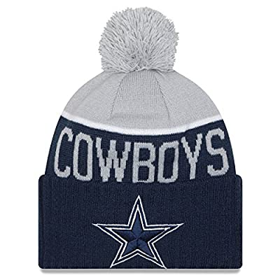 New Era Knit Dallas Cowboys Blue On Field Sideline Winter Stocking Beanie Pom Hat Cap 2015