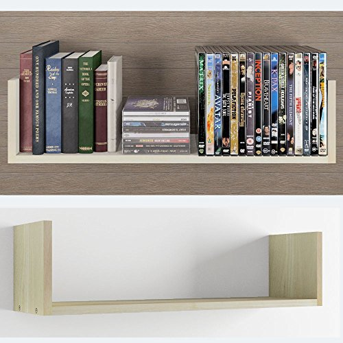 Contemporary Design U Shape Floating DVD , Cd and Book Solid Wood Wall Shelf Rack , Natural ...