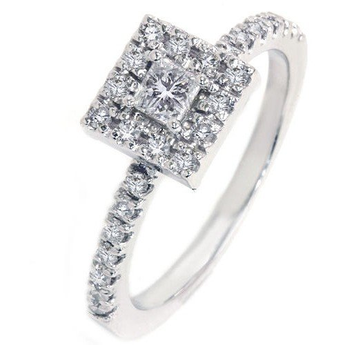0.58 Carat Halo Cheap Wedding Ring with Princess cut Diamond on 14K White gold