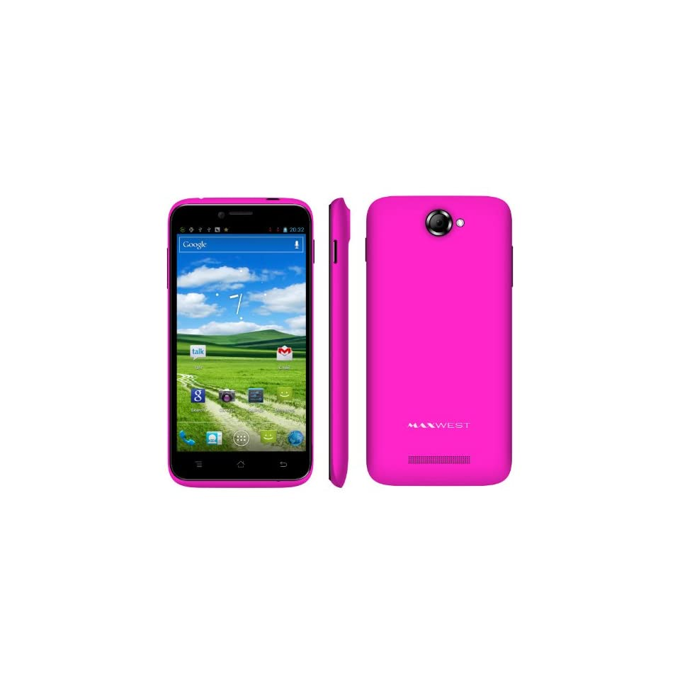 Maxwest Orbit Z50 5 Cinematic Screen Unlocked Android 4.1 OS 3G T Mobile & AT T, Quad Band, Dual Sim, Qualcomm Snapdragon Processor with Phone case   PINK   No Warranty