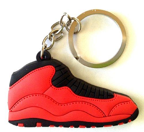 Air Jordan 10/X Fusion Fire Red/Black Sneakers Shoes Keychain Keyring AJ 23 Retro