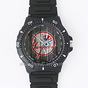 black plastic strap round men's watch with special design for MLB New York Yankees fans by JoyMore-packaged perfectly to give as gifts for Christmas, Thanksgiving and birthday