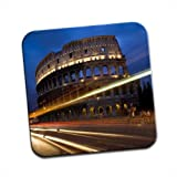 Night Roman Colosseum in Rome Italy Single Premium Glossy Wooden Coaster