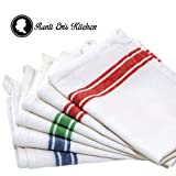 Kitchen Dish Towels with Vintage Design, Super Absorbent 100% Natural Cotton Kitchen Towels (Size: 25.5x15.5) - 6 Pack Dish Towel Set - Blue, Green and Red Stripes