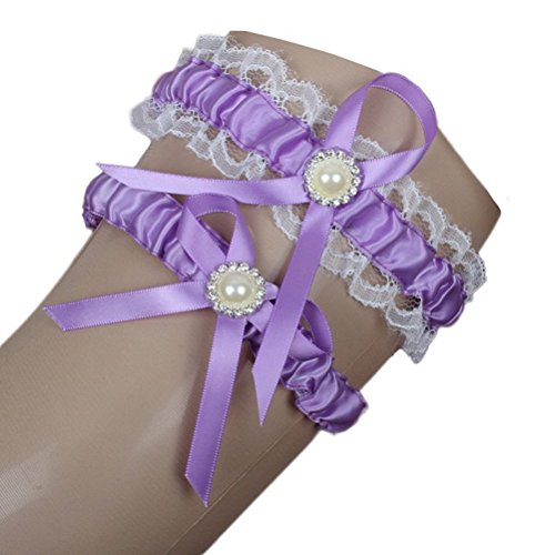 Linabridal Women's Lace Garter with 2 Pieces Packing for Wedding Bride FYT004 Lavender