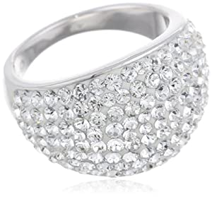 Carnevale Sterling Silver White Dome Ring with Swarovski Elements, Size 7