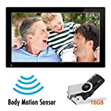 21.5 Inch Full HD 1080P Widescreen Digital Photo Frames with Motion Sensor for Tabletop or Wall Mount Use - 16GB USB Memory Stick - Support Photo - Music & Video - HDMI VESA 1920*1080 pixel 16:9 SSA