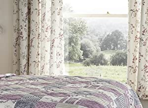 Francis Floral Purple Heather 66x72 Pencil Pleat Fully Lined Curtains #alil *cur* from PCJ Supplies