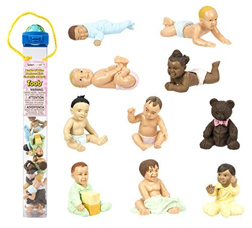 Safari-Ltd-Bundles-of-Babies-TOOB-Comes-With-a-Classic-Teddy-Bear-and-9-Different-Babies-in-Active-Poses-Quality-Construction-BPA-Free-For-Ages-3-and-Up