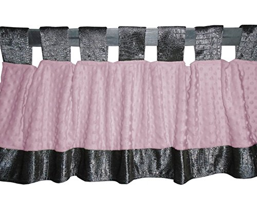 Baby Doll Croco Minky Window Valance, Grey/Pink