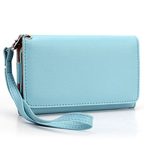 Exxist Woman's Universal Synthetic Leather Wristlet Wallet with Phone Compartment and Card Slots Fits BLU Advance 4.0 L2 | Dash J | Dash JR 3G (Blue Advance Forros compare prices)