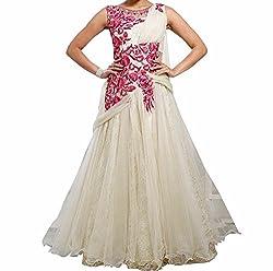 Sanjana Design Women's Georgette western cream gown ( KS7289_Free Size_Red)