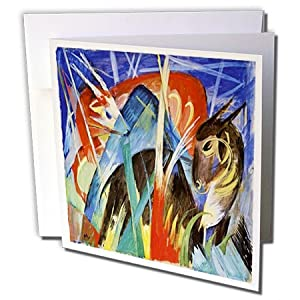 Florene Post Impressionism - Image of Franz Marc German painting fairy animals - 6 Greeting Cards with envelopes (gc_163595_1)