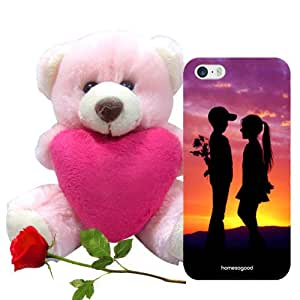 Homesogood Love Is Full Of Surprise Multicolor 3D Mobile Case For iPhone 5 / 5S (Back Cover) With Teddy & Red Rose