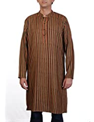 Viniyog Men Hand Woven Hand Block Printed Tussar Silk-Cotton Long Kurta
