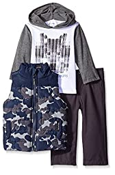 Calvin Klein Baby Boys\' Printed Puffy Vest with Tee and Pants, Multi, 12 Months