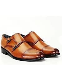 Tan Color Genuine Leather Double Monk Strap Shoes For Men By BRUNE/Best Monk Strap Leather Formal Shoe/Hand Made Leather Shoes/Hand Painted Leather Shoe/Extra Comfortable Leather Shoe/Long Lasting/Slip Resistant/Quick Delivery