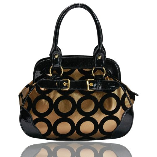 Gold and White Chic Mod Circle Bowler Satchel Hobo Handbag