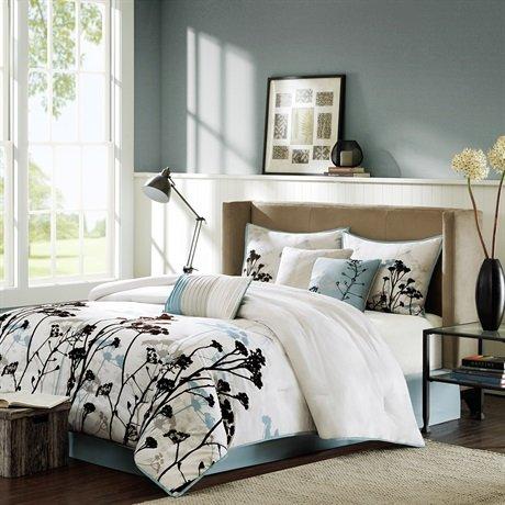 Madison Park Matilda 7 Piece Comforter Set - Blue - Queen front-1014352