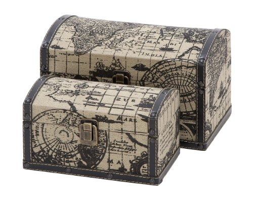 53868-Two Travel Chests With Ancient World Map front-840331